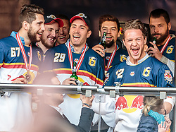 15.04.2016, Kapitelplatz, Salzburg, AUT, EBEL, Meisterfeier EC Red Bull Salzburg, im Bild Konstantin Komarek (EC Red Bull Salzburg), Luciano Aquino (EC Red Bull Salzburg), John Hughes (EC Red Bull Salzburg) // Konstantin Komarek (EC Red Bull Salzburg), Luciano Aquino (EC Red Bull Salzburg), John Hughes (EC Red Bull Salzburg) during the Erste Bank Icehockey Liga Championships Party of EC Red Bull Salzburg at the Kapitelplatz in Salzburg, Austria on 2016/04/15. EXPA Pictures © 2016, PhotoCredit: EXPA/ JFK