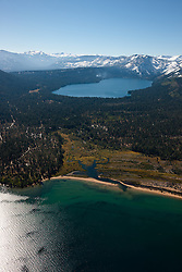 """Lake Tahoe and Fallen Leaf Lake 1"" - Photograph of Lake Tahoe in the foreground and Fallen Leaf Lake can be seen in the background."