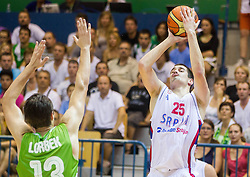 Nikola Kalinic of Serbia during friendly match between National teams of Slovenia and Serbia for Eurobasket 2013 on August 3, 2013 in Arena Zlatorog, Celje, Slovenia. (Photo by Vid Ponikvar / Sportida.com)