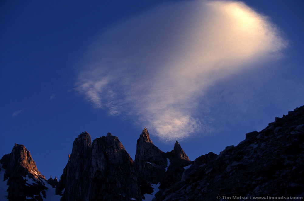 Cloud over mountains in the coast range of British Columbia, Canada.