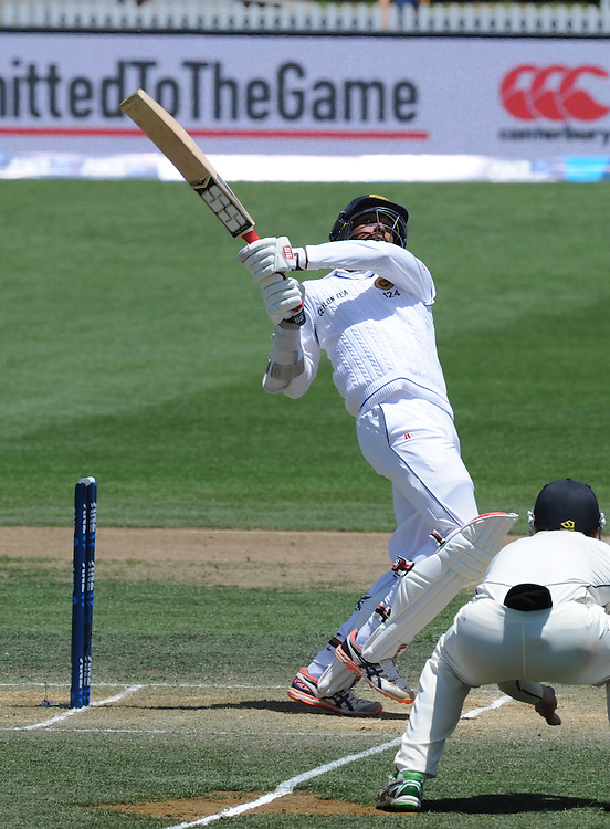Sri Lanka's Milinda Siriwardana hooks the ball for 6 against New Zealand on day three of the second International Cricket Test, Seddon Park, Hamilton, New Zealand, Sunday, December 20, 2015.Credit:SNPA / Ross Setford