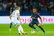 Paris Saint Germain's Brazilian forward Neymar Jr runs with the ball during the French championship L1 football match between Paris Saint-Germain (PSG) and Saint-Etienne (ASSE), on August 25, 2017 at the Parc des Princes in Paris, France - Photo Benjamin Cremel / ProSportsImages / DPPI
