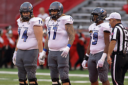 NORMAL, IL - September 08: Aaron Callaway, Josh Doyle, D.J. Perry and Jeremy Valentin during 107th Mid-America Classic college football game between the ISU (Illinois State University) Redbirds and the Eastern Illinois Panthers on September 08 2018 at Hancock Stadium in Normal, IL. (Photo by Alan Look)