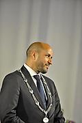 Nederland, Arnhem, 1-9-2017Ahmed Marcouch is beedigd als burgemeester van de stad, proviciehoofdstad van Gelderland. De ceremonie, plechtigheid werd verstoord door enkele aanhangers van Pegida die hun ongenoegen kenbaar maakten dmv fluitjes.Foto: Flip Franssen