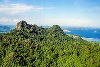 Nusa Tenggara, South Lombok. The south coast looking east (from helicopter). Sea and mountains.