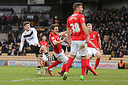 Port Vale midfielder, on loan from Cardiff City, Matthew Kennedy   with a shot during the Sky Bet League 1 match between Port Vale and Coventry City at Vale Park, Burslem, England on 7 February 2016. Photo by Simon Davies.