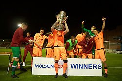 LEYLAND, ENGLAND - Friday, September 1, 2017: Liverpool's captain Corey Whelan lifts the trophy after beating Fleetwood Town on penalties to win the Lancashire Senior Cup Final match between Fleetwood Town and Liverpool Under-23's at the County Ground. (Pic by Propaganda)