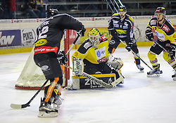 18.10.2015, Messestadion, Dornbirn, AUT, EBEL, Dornbirner Eishockey Club vs UPC Vienna Capitals, 12. Runde, im Bild Nicolas Petrik, (Dornbirner Eishockey Club, #12), David Kickert, (UPC Vienna Capitals #30), Marek Zaprapan, (Dornbirner Eishockey Club, #08) und Tyler Puma, (UPC Vienna Capitals #19)// during the Erste Bank Icehockey League 12th round match between Dornbirner Eishockey Club and UPC Vienna Capitals at the Messestadion in Dornbirn, Austria on 2015/10/18, EXPA Pictures © 2015, PhotoCredit: EXPA/ Peter Rinderer
