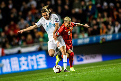 Rene Krhin of Slovenia vs Egzijan Alioski of Macedonia during football match between National teams of Slovenia and North Macedonia in Group G of UEFA Euro 2020 qualifications, on March 24, 2019 in SRC Stozice, Ljubljana, Slovenia.  Photo by Matic Ritonja / Sportida