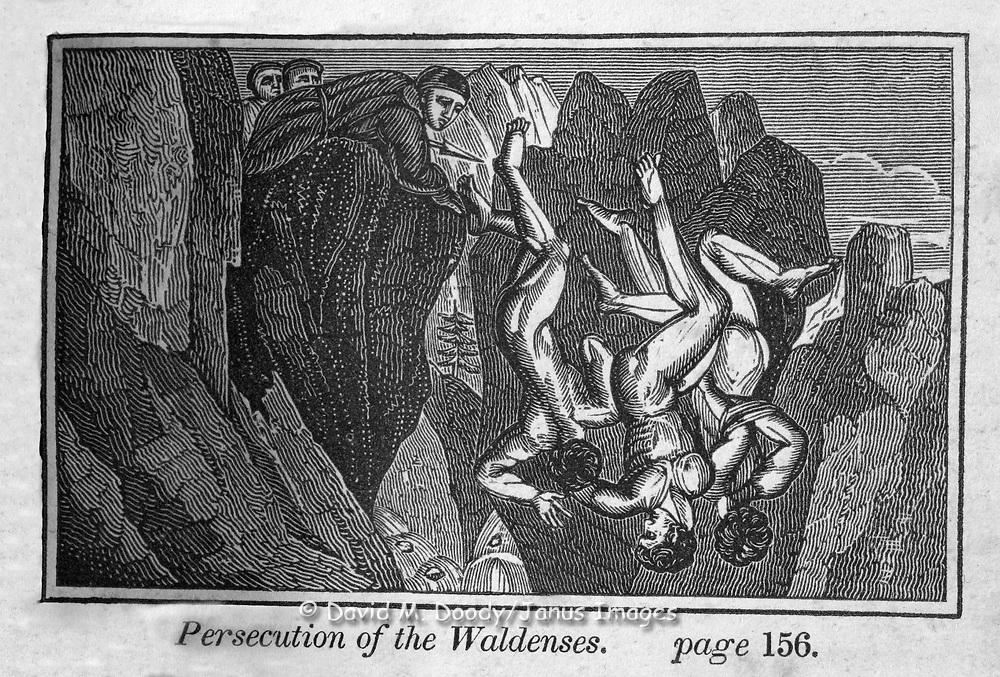 "Persecution of the Waldenses. Protestant vs Catholic violence. Vintage Woodcut Illustration from: ""Book of Martyrs"" Tortures carried out in the name of religion."