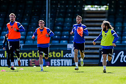 Bristol Rovers training before Sundays Vanamara Conference Play Off Final match against Grimsby Town at Wembley Stadium for promotion to the Football League 2 - Photo mandatory by-line: Rogan Thomson/JMP - 07966 386802 - 12/05/2015 - SPORT - FOOTBALL - Bristol, England - Memorial Stadium - Bristol Rovers Play Off Final Previews - Vanarama Conference Premier.