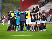 Dundee huddle after their win at Hamilton - Hamilton v Dundee in the Ladbrokes Scottish Premiership at Superseal stadium, Hamilton. Photo: David Young<br /> <br />  - &copy; David Young - www.davidyoungphoto.co.uk - email: davidyoungphoto@gmail.com