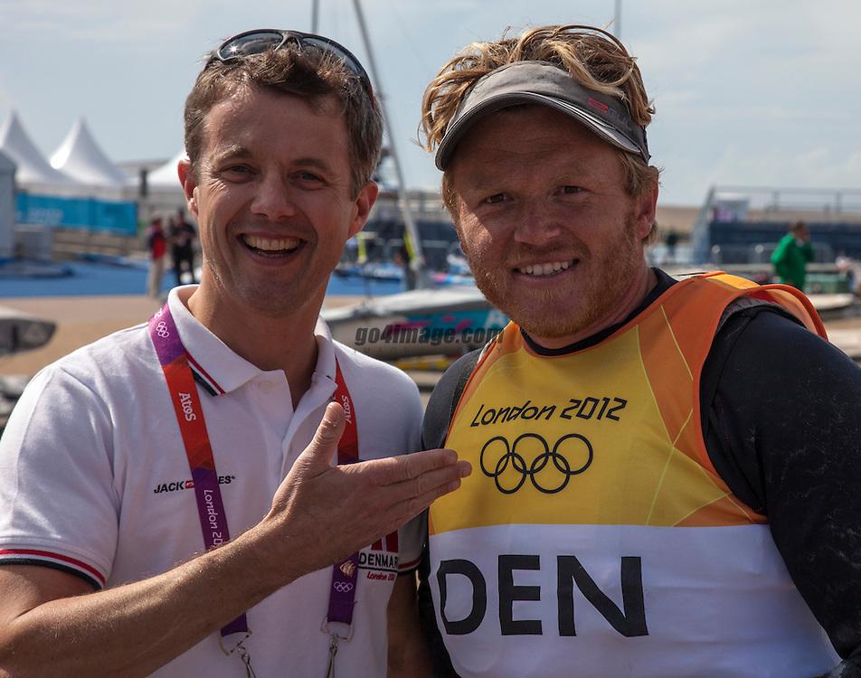 HRH Crown Prince Frederik of Danemark and <br /> Silver medal winner<br /> Hoegh-Christensen Jonas, (DEN, Finn)<br /> 2012 Olympic Games <br /> London / Weymouth