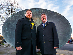 Loanhead, Midlothian, Scotland, United Kingdom, 18 November 2019. General Election campaigning:  SNP Depute Leader Keith Brown MSP joins Owen Thomson, SNP candidate for Midlothian, on the campaign trail at Fountain Green, Loanhead.<br /> Sally Anderson | EdinburghElitemedia.co.uk