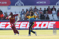July 1, 2019 - Chester Le Street, County Durham, United Kingdom - Lasith Malinga of Sri Lanka reacts after bowling during the ICC Cricket World Cup 2019 match between Sri Lanka and West Indies at Emirates Riverside, Chester le Street on Monday 1st July 2019. (Credit Image: © Mi News/NurPhoto via ZUMA Press)