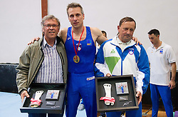 Farewell of Slovenian athlete Aljaz Pegan with his coaches Boris Pavliha and Joze Mesl at his last competition in his sports career during Slovenian Gymastics Cup 2013 on June 2, 2013 in GIB arena, Ljubljana, Slovenia. (Photo By Vid Ponikvar / Sportida)