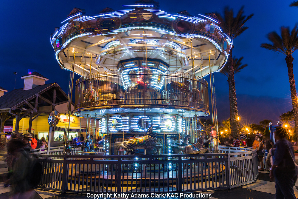 Double Decker Carousel at Kemah Boardwalk, an entertainment destination on the Gulf Coast in Kemah, Texas.