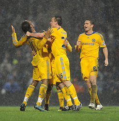 Didier Drogba (Chelsea) celebrates his second half goal during the Barclays Premier League match between Portsmouth and Chelsea at Fratton Park on March 3, 2009 in Portsmouth, England.