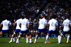 USA players look on as Samoa perform their pre-match haka - Mandatory byline: Patrick Khachfe/JMP - 07966 386802 - 20/09/2015 - RUGBY UNION - Brighton Community Stadium - Brighton, England - Samoa v USA - Rugby World Cup 2015 Pool B.