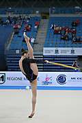 Alina Maksimenko during final qualifying  at hoop in Pesaro World Cup at the Adriatic Arena on 26 April, 2013.<br /> Alina is an Ukrainian individual rhythmic gymnast. She was born on July 10, 1991 in Zaporizhia, Ukraine.