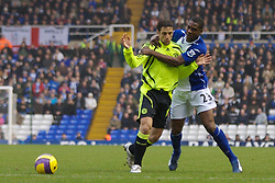BIRMINGHAM, ENGLAND - Saturday, January 19, 2008: Chelsea's Juliano Belletti and Birmingham City's Oliver Kapo during the Premiership match at St Andrews. (Photo by David Rawcliffe/Propaganda)
