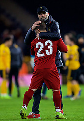 WOLVERHAMPTON, ENGLAND - Monday, January 7, 2019: Liverpool's manager Jürgen Klopp embraces Sheridan Shaqiri after the FA Cup 3rd Round match between Wolverhampton Wanderers FC and Liverpool FC at Molineux Stadium. Wolverhampton Wanderers won 2-1. (Pic by David Rawcliffe/Propaganda)