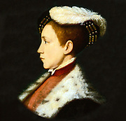 Edward VI (1537-1553) king of England and Ireland from 1547. Son of Henry VIII and his third wife, Jane Seymour.  Always a sickly child, he died of natural causes.  Portrait by Holbein.