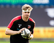 Aaron Wainwright of Dragons during the pre match warm up<br /> <br /> Photographer Simon King/Replay Images<br /> <br /> Guinness PRO14 Round 18 - Ospreys v Dragons - Saturday 23rd March 2019 - Liberty Stadium - Swansea<br /> <br /> World Copyright © Replay Images . All rights reserved. info@replayimages.co.uk - http://replayimages.co.uk