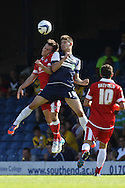 Picture by David Horn/Focus Images Ltd +44 7545 970036.18/08/2012.Ryan Leonard (centre) of Southend United challenges with Michael Liddle (left) of Accrington Stanley, whilst Will Hatfield looks on during the npower League 2 match at Roots Hall, Southend.