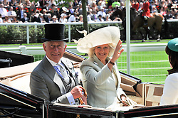 HRH The PRINCE OF WALES and the DUCHESS OF CORNWALL at day 1 of the 2011 Royal Ascot Racing festival at Ascot Racecourse, Ascot, Berkshire on 14th June 2011.