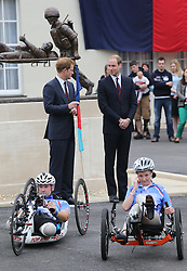 The  Duke of Cambridge and Prince Harry about to wave off the 2013 Hero Ride during a visit to the Help For Heroes Recovery Centre in Tidworth, Wiltshire, Monday, 20th May 2013 Picture by:  Stephen Lock / i-Images