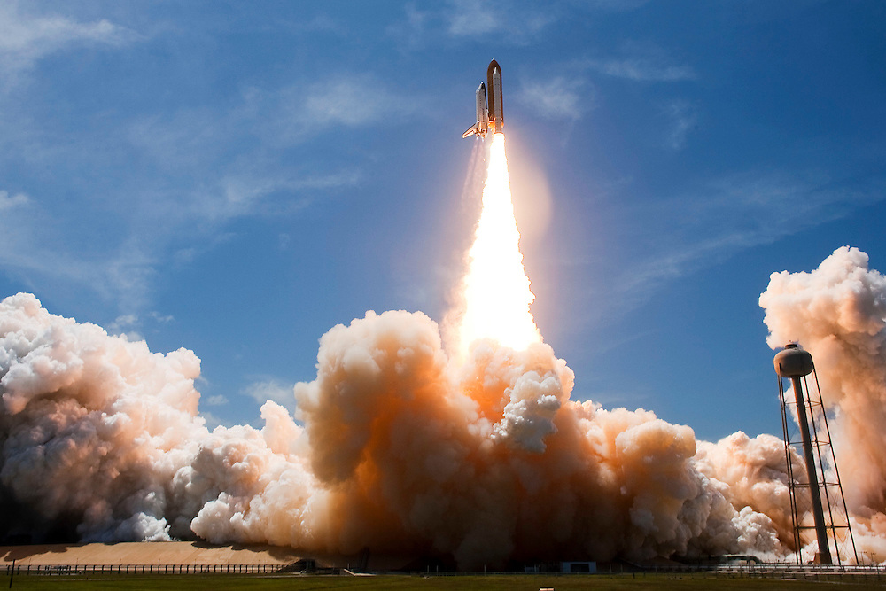CAPE CANAVERAL, FL -  MAY 14:  Space Shuttle Atlantis lifts off of launch pad 39-a at Kennedy Space Center for its final scheduled launch on May 14, 2010, in Cape Canaveral. Atlantis is scheduled for a 13-day mission to the International Space Station.(Photo by Matt Stroshane/Getty Images)