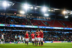 October 8, 2017 - Oslo, NORWAY - 171008  Players of Norway celebrates the 1-0 goal during the FIFA World Cup Qualifier match between Norway and Northern Ireland on October 8, 2017 in Oslo..Photo: Vegard Wivestad Grøtt / BILDBYRÃ…N / kod VG / 170029 (Credit Image: © Vegard Wivestad GrØTt/Bildbyran via ZUMA Wire)