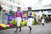 November 1-3, 2018: Breeders' Cup Horse Racing World Championships. Jockeys Shawn Bridgmohan (r) and Brian Hernandez (L)