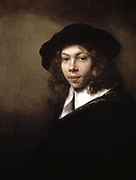 Young Man in a Black Hat', 1666. Oil on canvas. Rembrandt Harmenszoon van Rijn (1606-1669) Dutch painter and etcher. Portrait  Youth