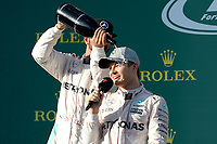 ROSBERG Nico (ger) Mercedes GP MGP W07 ambiance portrait - HAMILTON Lewis (gbr) Mercedes GP MGP W07 ambiance portrait - podium during 2016 Formula 1 championship at Melbourne, Australia Grand Prix, from March 18 To 20 - Photo Eric Vargiolu / DPPI