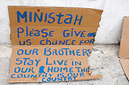 A simple sign made by a resident of Cité Soleil, laid out for journalists. Port-au-Prince, Haiti, February 22, 2007.