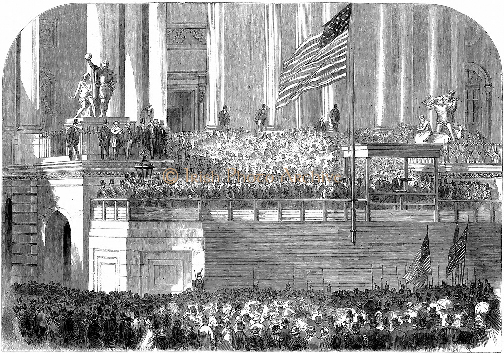 Abraham Lincoln (1809-1865) delivering his inaugural address as President in front of the Capitol, Washington on 4 March 1861. Wood engraving.