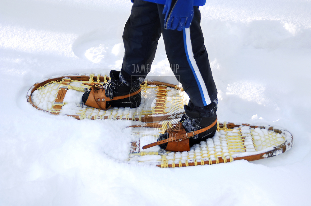 Photo of legs wearing snow shoes and walking in snow