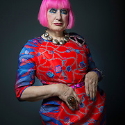 World famous fashion designer Zandra Rhodes in Glasgow. Picture Robert Perry 11th Sept 2014