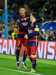Lionel Messi of Barcelona celebrates with Neymar - Mandatory byline: Matt McNulty/JMP - 16/03/2016 - FOOTBALL - Nou Camp - Barcelona,  - FC Barcelona v Arsenal - Champions League - Round of 16
