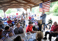 Doylestown Historical Society President Stuart Abramson speaks to the crowd during the Maplewood section's 70th anniversary celebration Saturday, June 18, 2016 in Doylestown, Pennsylvania.   (Photo by William Thomas Cain)