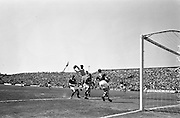 09/06/1963<br /> 06/09/1963<br /> 09 June 1963<br /> Soccer International: Ireland v Scotland at Dalymount Park Dublin. Ireland won the game 1-0 with a goal from Captain Noel Cantwell. Irish keeper, Alan Kelly, rushes out to stop a high ball in the second half.