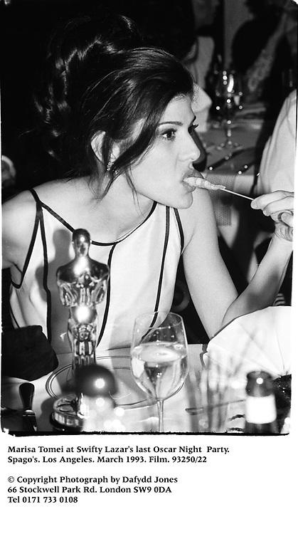 Marisa Tomei at Swifty Lazar's last Oscar Night  Party. Spago's. Los Angeles. March 1993. Film. 93250/22<br /><br />© Copyright Photograph by Dafydd Jones<br />66 Stockwell Park Rd. London SW9 0DA<br />Tel 0171 733 0108