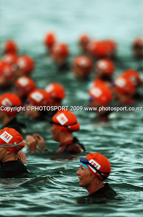 Contact Trophy women's competitors prepare to race.<br /> Contact Tri-Series National Triathlon Championships and ITU Oceania Cup at Wellington Waterfront, Wellington , New Zealand. Saturday 7 March 2009. Photo: Dave Lintott/PHOTOSPORT