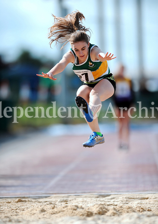 20 Aug 2016:  Katelyn Farrelly, from Offaly, third in the Girls Long Jump U14.  2016 Community Games National Festival 2016.  Athlone Institute of Technology, Athlone, Co. Westmeath. Picture: Caroline Quinn