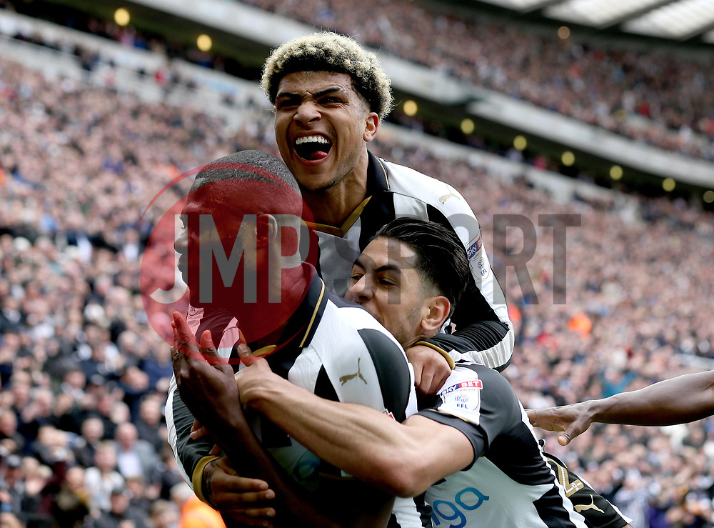 Chancel Mbemba of Newcastle United celebrates with teammates after scoring a goal to make it 2-0 - Mandatory by-line: Robbie Stephenson/JMP - 07/05/2017 - FOOTBALL - St James Park - Newcastle upon Tyne, England - Newcastle United v Barnsley - Sky Bet Championship