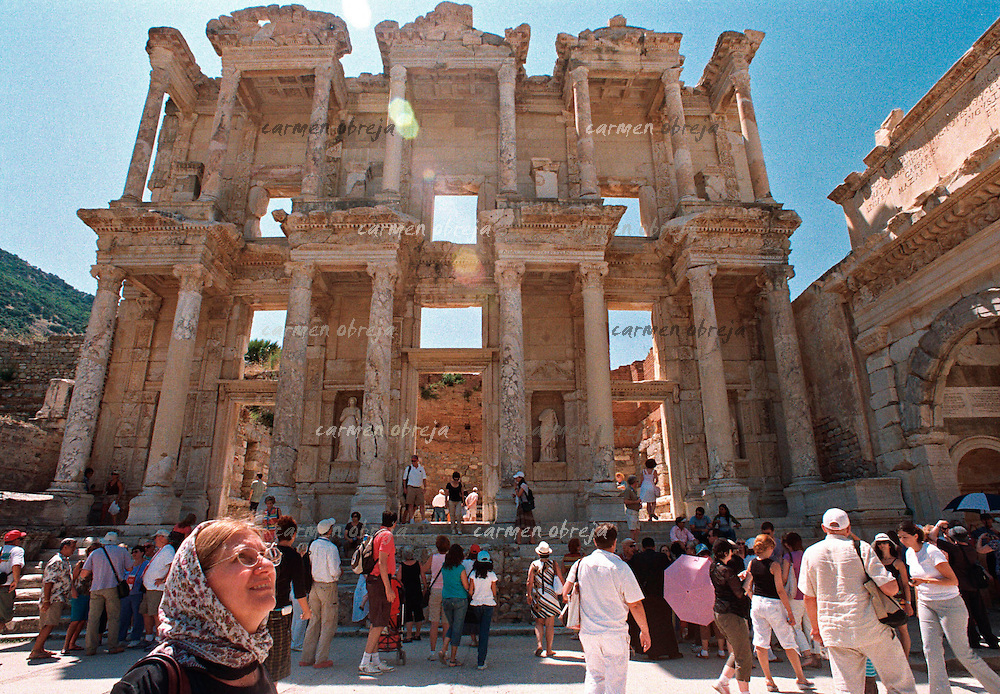 tourist at Library of Celsus in Ephesus