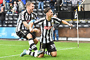 Notts County player Aaron Collins (39) celebrates with Notts County player Michael O'Connor (8) after scoring goal to make it 2 all  during the EFL Sky Bet League 2 match between Notts County and Grimsby Town FC at Meadow Lane, Nottingham, England on 3 September 2016. Photo by Ian Lyall.