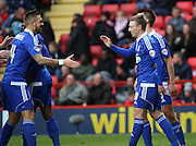 Ipswich striker Freddie Sears celebrating after scoring with Ipswich defender and captain Luke Chambers during the Sky Bet Championship match between Charlton Athletic and Ipswich Town at The Valley, London, England on 28 November 2015. Photo by Matthew Redman.